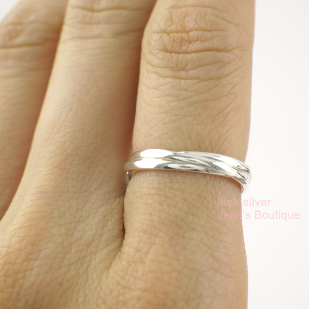 925 Sterling Silver 3 Band Russian Wedding Band Ring Various Sizes