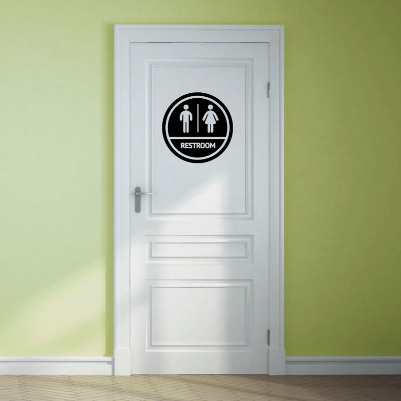 Personality Restroom Sign Bathroom Business Vinyl Sticker Waterproof Home Decoration Decal Wall Sticker A2204