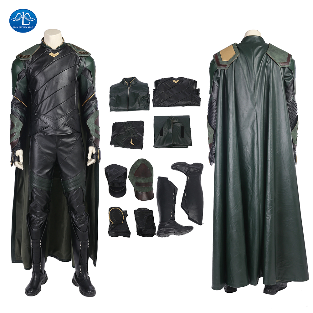 MANLUYUNXIAO Thor Ragnarok Cosplay Costume Loki Costume Adult Halloween Costumes For Men Loki Outfit Leather Suit Custom Made