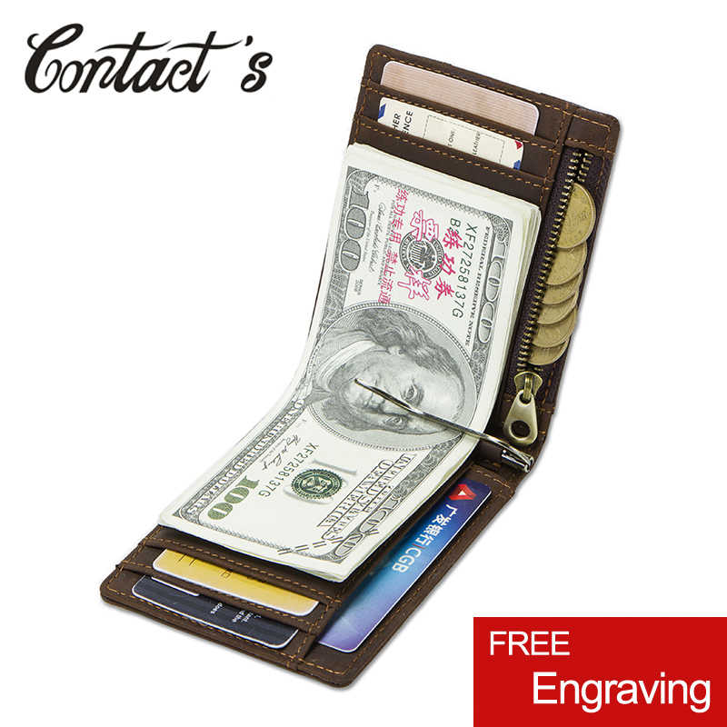 Contact's Crazy Horse Leather Men Money Clip Wallet Rfid Solid Male Purses With Zipper Coin Pocket Card Case Holder High Quality