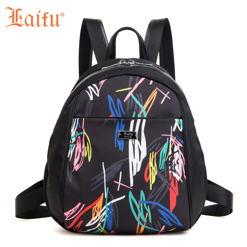 Laifu Women's Backpack Student School Bag Fashion Geometric Graffiti Design Nylon Waterproof Lightweight