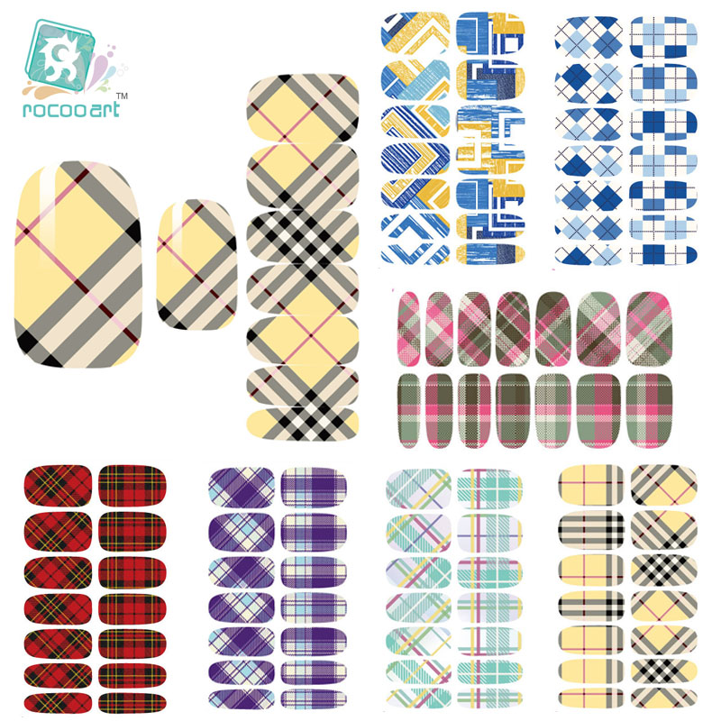 Rocooart K3 Multi Color Water Transfer Nail Art Sticker Minx Manicure Decoration Styling Tools Nail Wraps Decals Classic Plaid free shipping new 2017 hot 13 single pure color series classic collection manicure nail polish strips nail wraps full nail sheet
