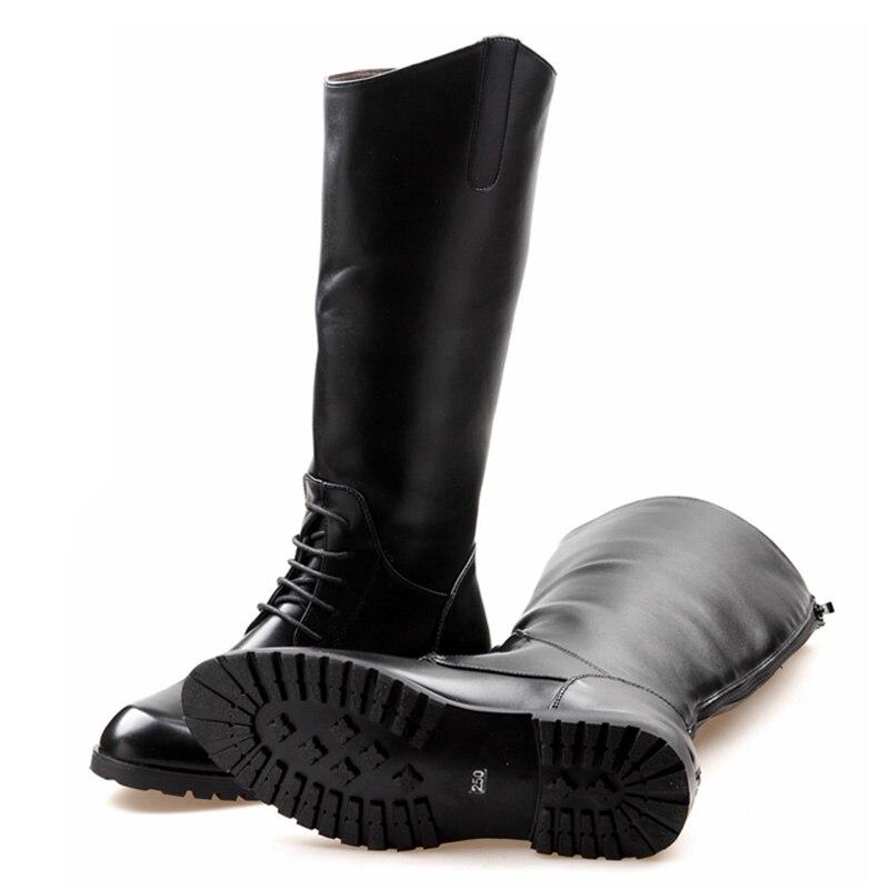 Errfc 패션 디자이너 블랙 긴 무릎 부츠 남자 라운드 발가락 승마 부팅 카우보이 pu 가죽 오토바이 부팅 남자 크기 38 45-에서오토바이 부츠부터 신발 의  그룹 3