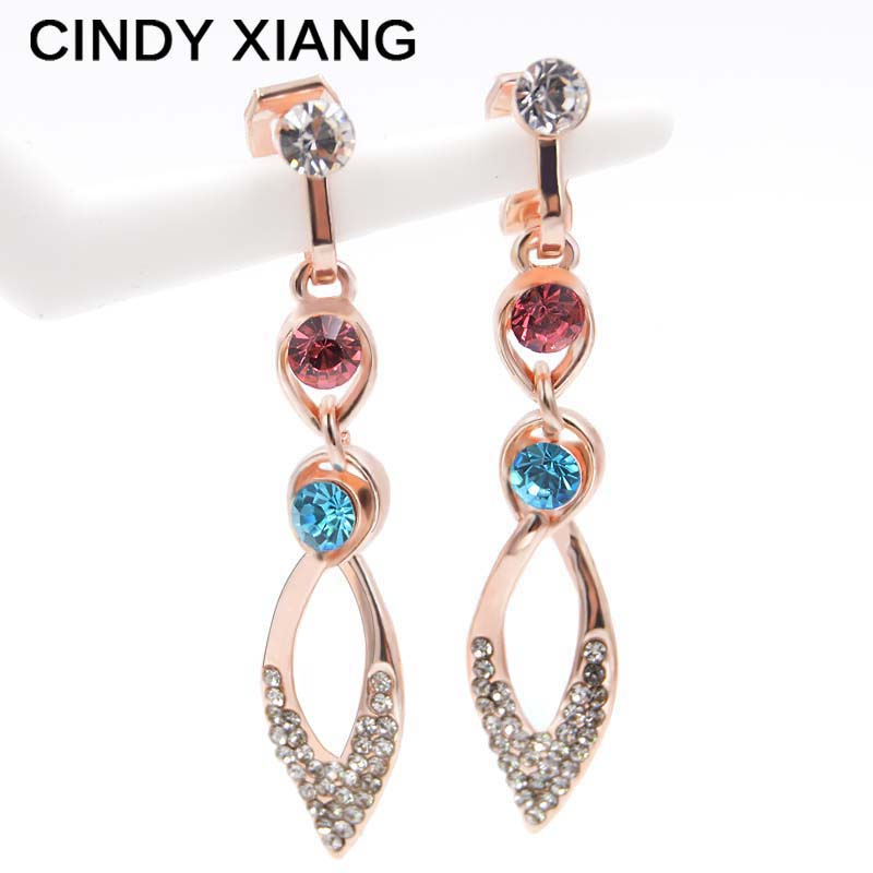 Cindy Xiang Rhinestone Long Clip Earrings Without Piercing For Women Elegant Summer Style Earrings Wedding No