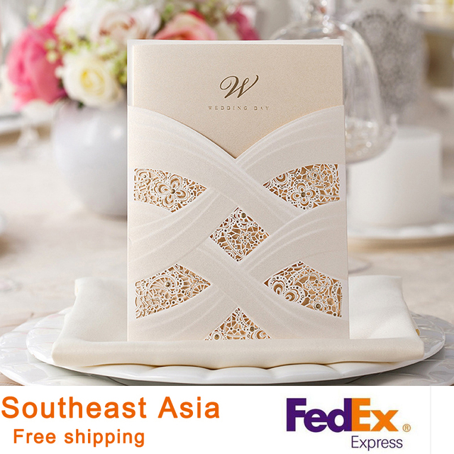 Wedding Invitations White Red Vertical Laser Cutting Bronzing Invitation Cards With Lace Hot Stamping 100pcs
