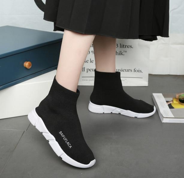 Baskets Épaisse Chaussures Nouveau Sauvages 2018 Coréenne D'été Version Noir Du Élastiques Printemps Marée Chaussettes Femme Sneakers 0AwpBf8nq
