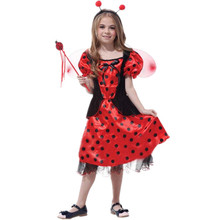7 Sets/lot Free Shipping Ladybug Costumes for Kids Carnival Halloween Children Girls Fairy Cosplay Clothes Princess Fancy Dress