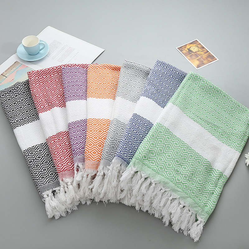 Striped Cotton Turkish Bath Towel With Tassels Thin Travel ...