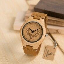 Бобо птица Lbk04 лося и волк циферблат с мягкой кожи женские деревянные часы моды случайные группы Mujer Часы в Подарочная коробка