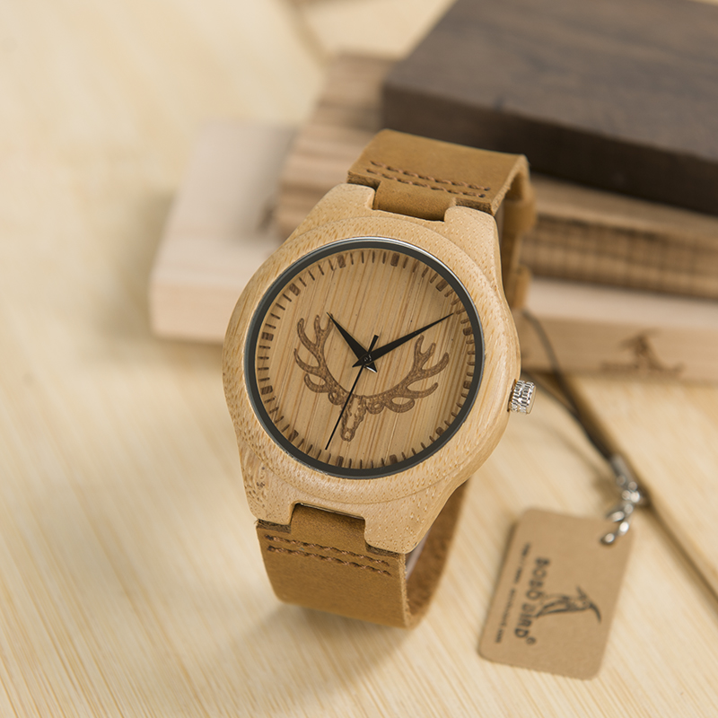 BOBO BIRD L-k04 Elk and Wolf Dial Face with Soft Leather Women Wooden Watches Fashion Casual Band Mujer Clock in Gift Box bobo bird l b08 bamboo wooden watches for men women casual wood dial face 2035 quartz watch silicone strap extra band as gift