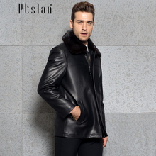 Ptslan 2016 Men's Real Mink Fur Full Pelt Long Sleeve Jacket Long Coat