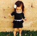 2016 Moda ins niña pequeña hepburn blanco y negro vestido de una sola pieza 100% de algodón de punto falda de lana