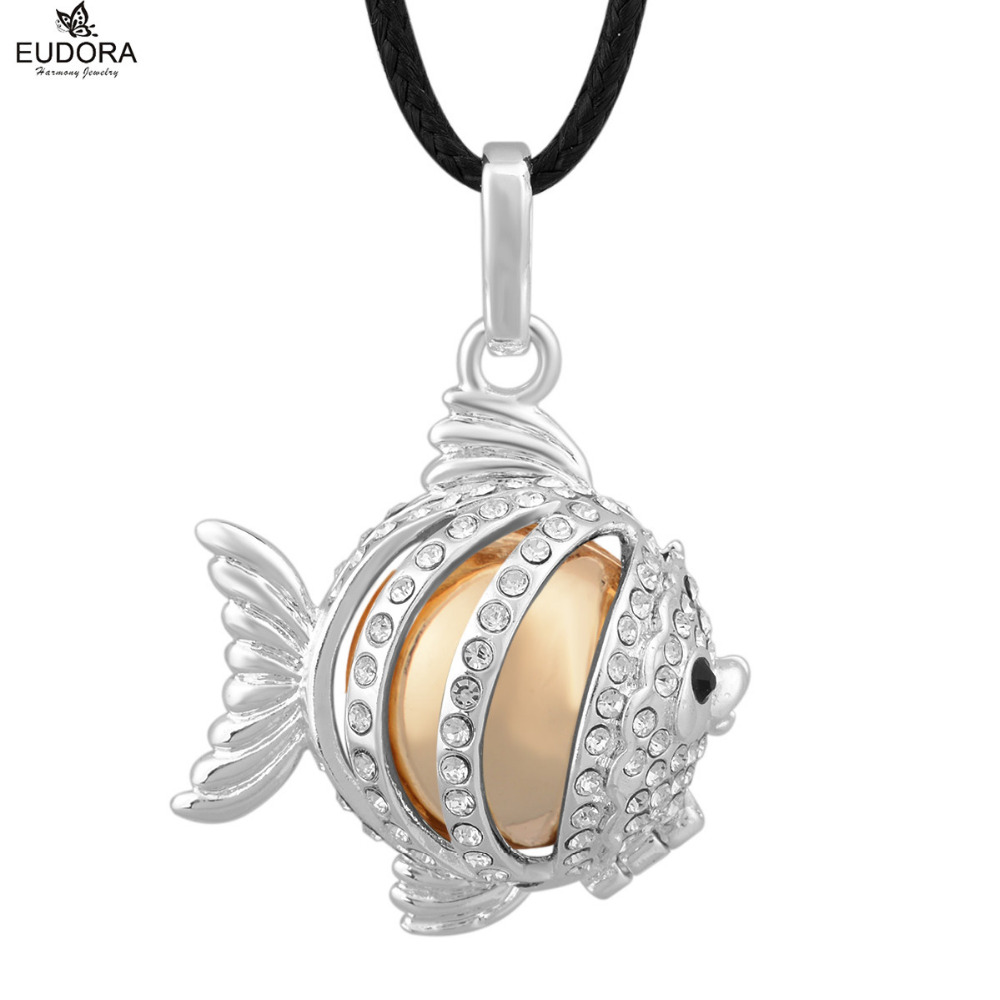Lovely Fish Cage with White Crystal Angel Caller Pendant Jewelry Mum To Be Gift Chime Ba ...