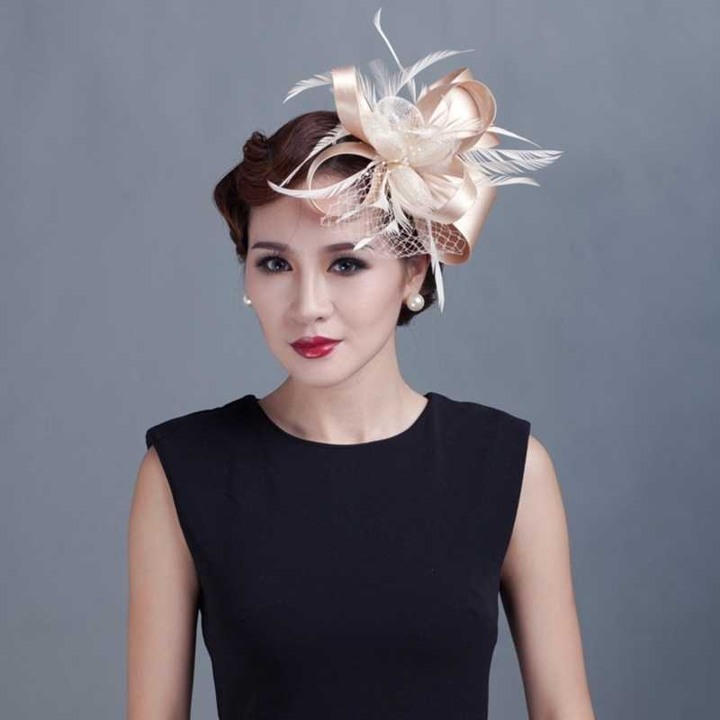 Women Cocktail Chic Fascinator Hat Church Headpiece Wedding Fashion Headwear Lady Party Formal Hair Accessories