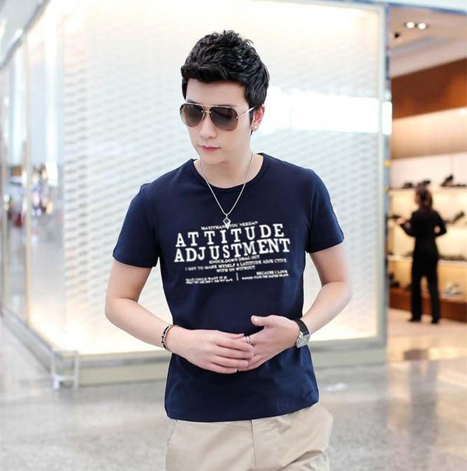 Man Spring 2016 Korea Kpop Letters Printing T Shirt Men Bodybuilding