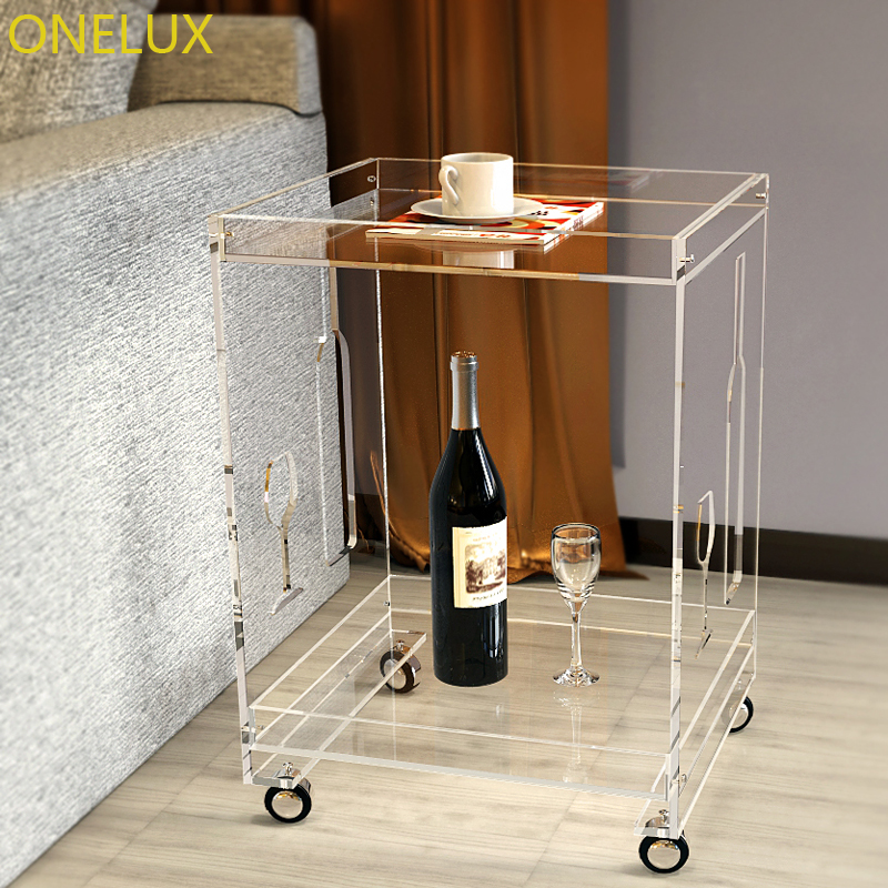 (KD Packed) Clear Acrylic Small Sofa Table On Wheels