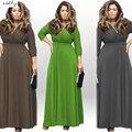 Makuluya 2016 НОВОЕ ПРИБЫТИЕ женские платья с длинным рукавом V воротник сексуальная бальные платья плюс размер свободные платья 7 цвета LYQ-85-36