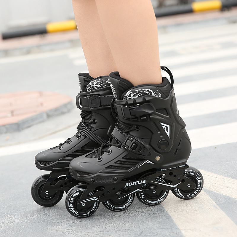 New Inline Professional Adult Women Men Slalom PP Ice Skating Skate Shoes  SolidFrame Adjustable Washable PU Wheels Adulto Patins