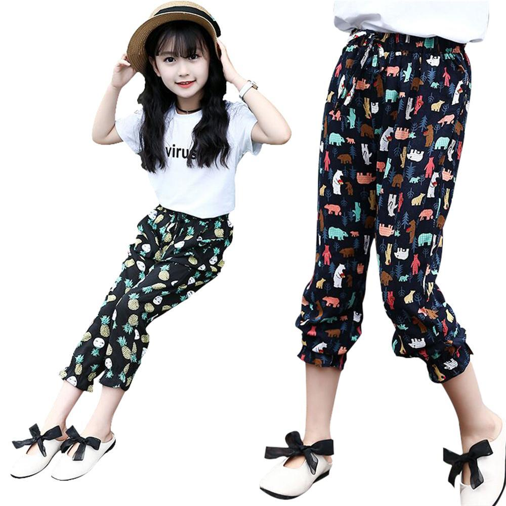 2018 Girl Chiffon Floral Casual Pants Summer Flower Print Teenage Clothes Girl Leggings Kids beach Trousers Girl Harem Pants kids floral print pants