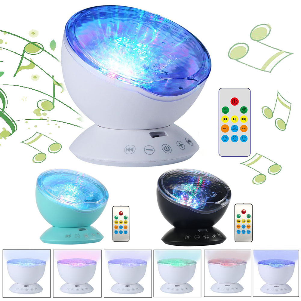 Ocean Waves Projector Table Lamp Music Player Kids Adults Bedroom ...