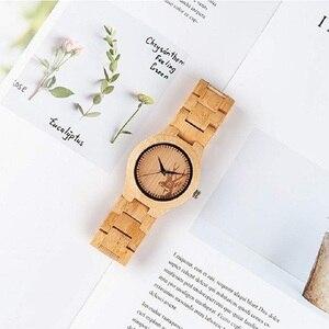 Image 4 - BOBO ptak kobiety zegarki Relogio Feminino ełk grawerowane twarzy bambusa drewniane zegarki luksusowe marki ręcznie drewna pasek C dE04