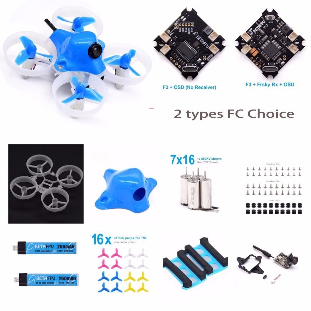 Unassembled Beta65S BNF Micro Whoop with F3 FC OSD Frsky receiver 716 17500KV motor 1S 260mah battery for Tiny Whoop Quadcopter