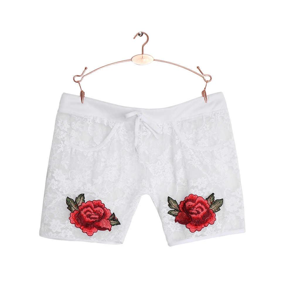 Летние модные женские кружевные сексуальные цветочные шорты Сладкий Стиль Кружева Аппликация крючком эластичный пояс тонкие короткие брюки черный и белый