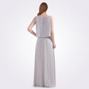 Image 2 - גלימת דה Soiree לונג 2020 נשים אונליין שרוולים שיפון O צוואר גריי זול צד פורמלי שמלות EB07632 אלגנטי שמלת ערב