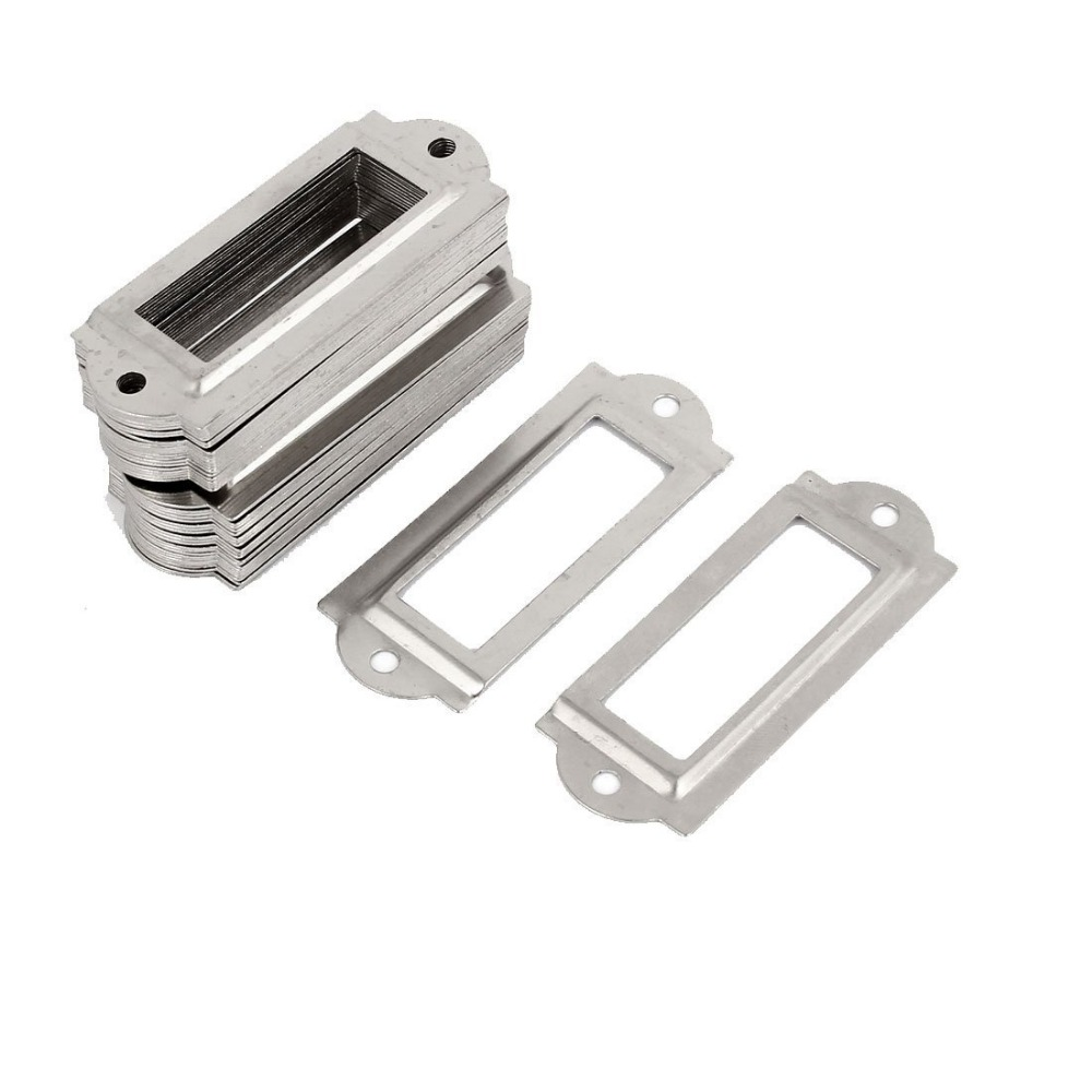 Silver Color Drawer cabinet Tag card Index File Label Frame Holders with Screws 60*24mm clear acrylic a3a4a5a6 sign display paper card label advertising holders horizontal t stands by magnet sucked on desktop 2pcs