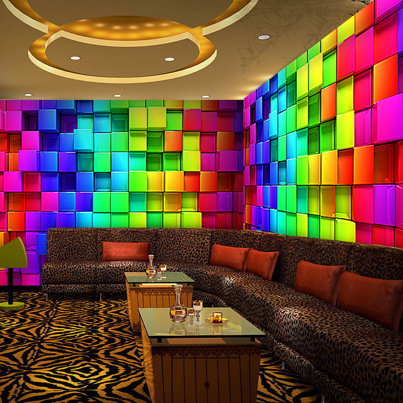 custom 3d stereoscopic colorful cube plaid murals. Black Bedroom Furniture Sets. Home Design Ideas