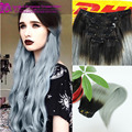 Color 1b Black to Granny Grey Silver Two Color Ombre Clip In Human Hair Extensions Ombre Clip In Human Hair Extensions Straight