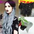 Color 1b negro a Granny gris plata de dos colores Ombre Clip en extensiones de cabello humano Ombre Clip en extensiones del pelo humano recto