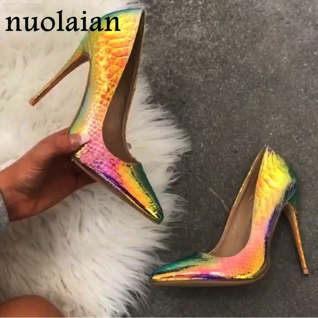 Snake Patent Leather Shoes For Woman Big Size Party Wedding Platform Pumps Women High Heels Ladies High Heel Shoe Pump Shoe
