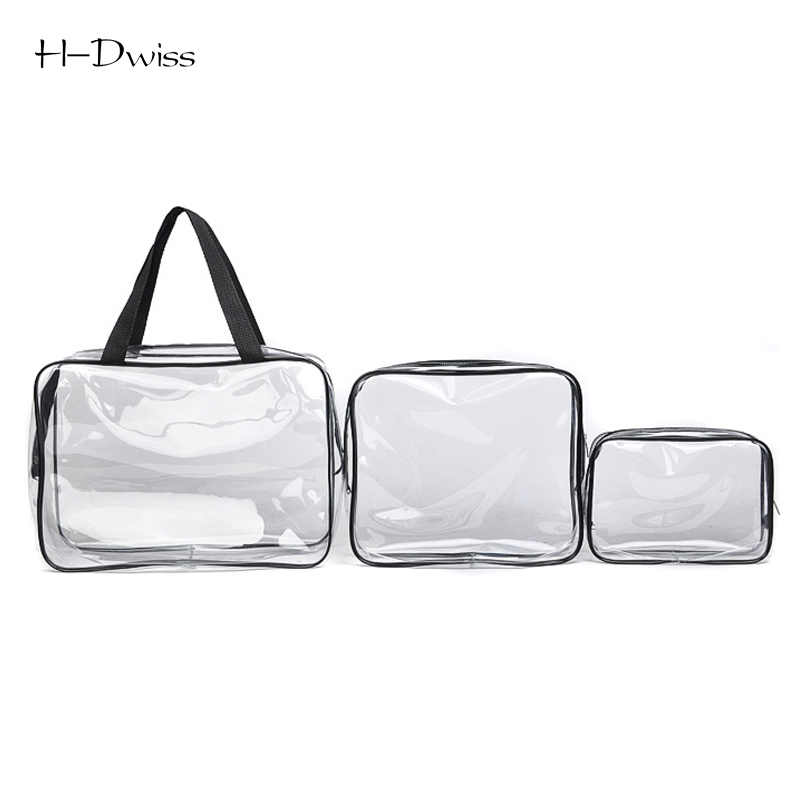 HDWISS Environmental Protection PVC Transparent Cosmetic Bag Women Travel Make up Toiletry Bags Makeup Handbag Organizer Case
