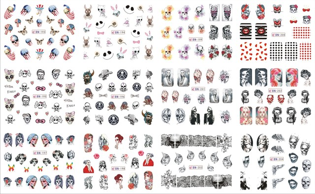 Nail bn193 204 fashion voodoo girl flower skull nail art water wraps sticker decal for