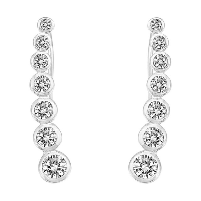 BELLA Fashion 925 Sterling Silver Round Cubic Zircon Simple Clear Ear Cuff Wrap Sweep Hook Earrings 1 Pair Wedding Party Jewelry
