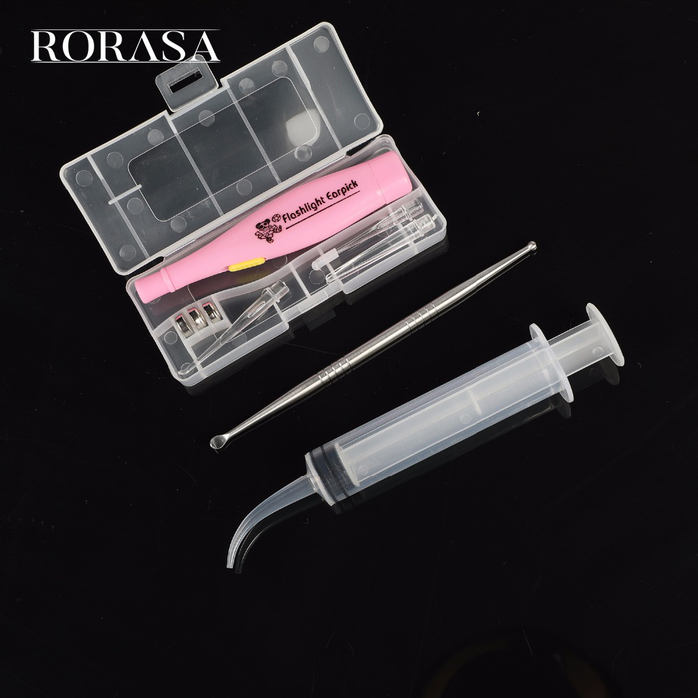 New Tonsil Stone Remover Tools LED Light Ear Wax Remover Stainless Steel Earpick With 3 Tips Irrigator Syringe Clean Care Tool