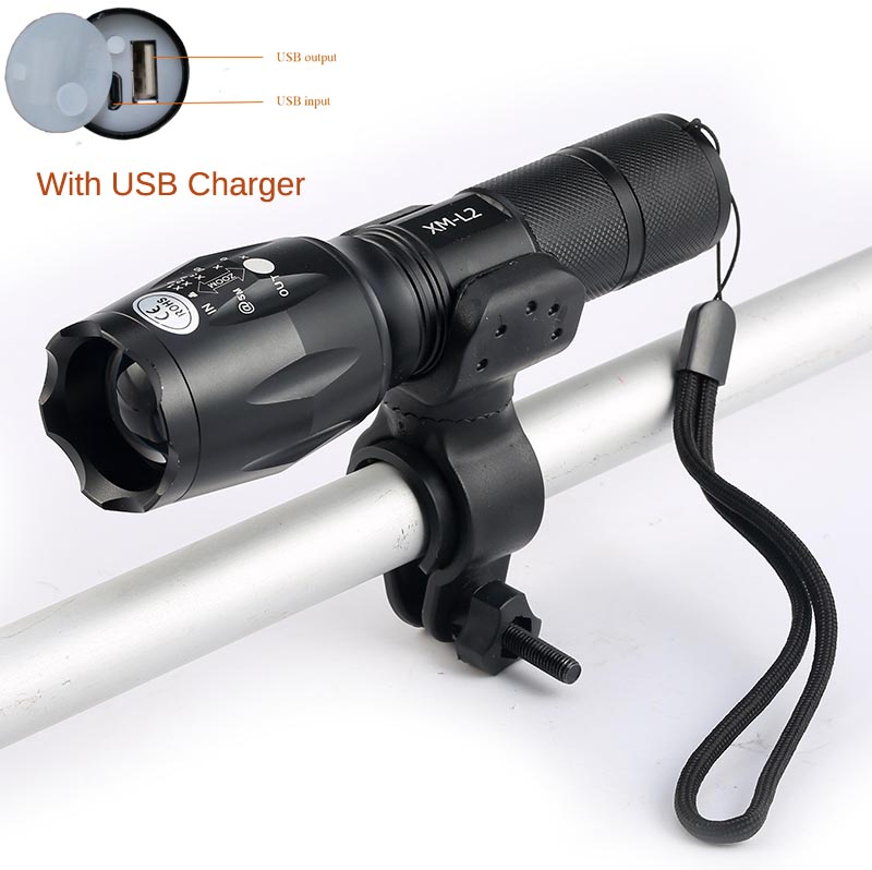 2017 Newest USB Flashlight 8000 Lumens Bike light LED CREE XM-T6 L2  front Torch Bicycle Light cycling lamp USB Charger+Holder tinhofire 6870 cree xm l 2 2000 lumens l2 led flashlight torch light lamp micro usb input 5v charger with battery
