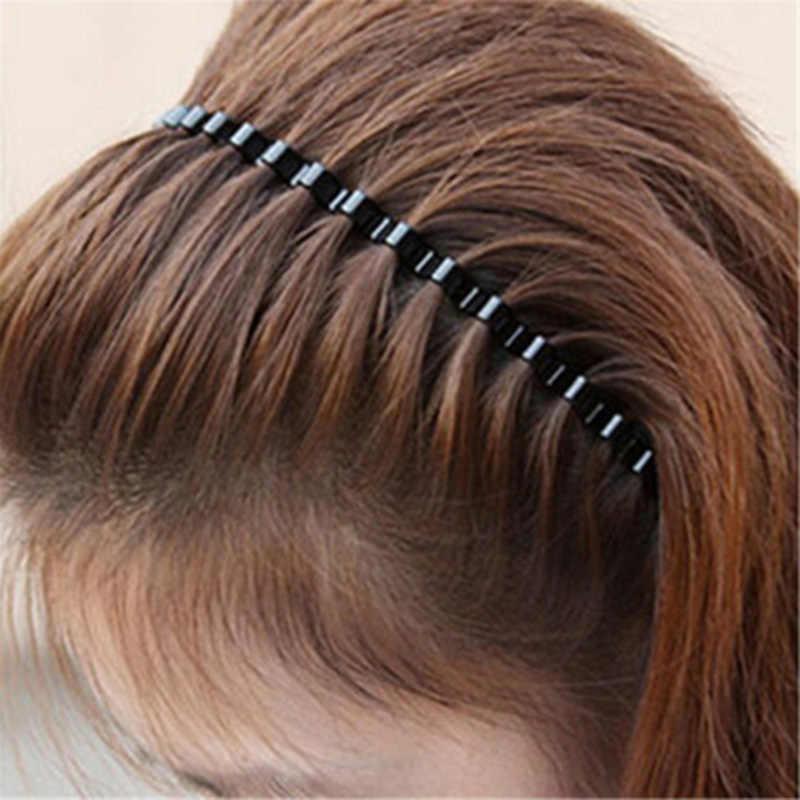 גברים נשים יוניסקס שחור גלי שיער קליפ ראש חישוק להקת ספורט סרט סרט שיער אופנה פשוט מתכת שיער חישוק אבזרים