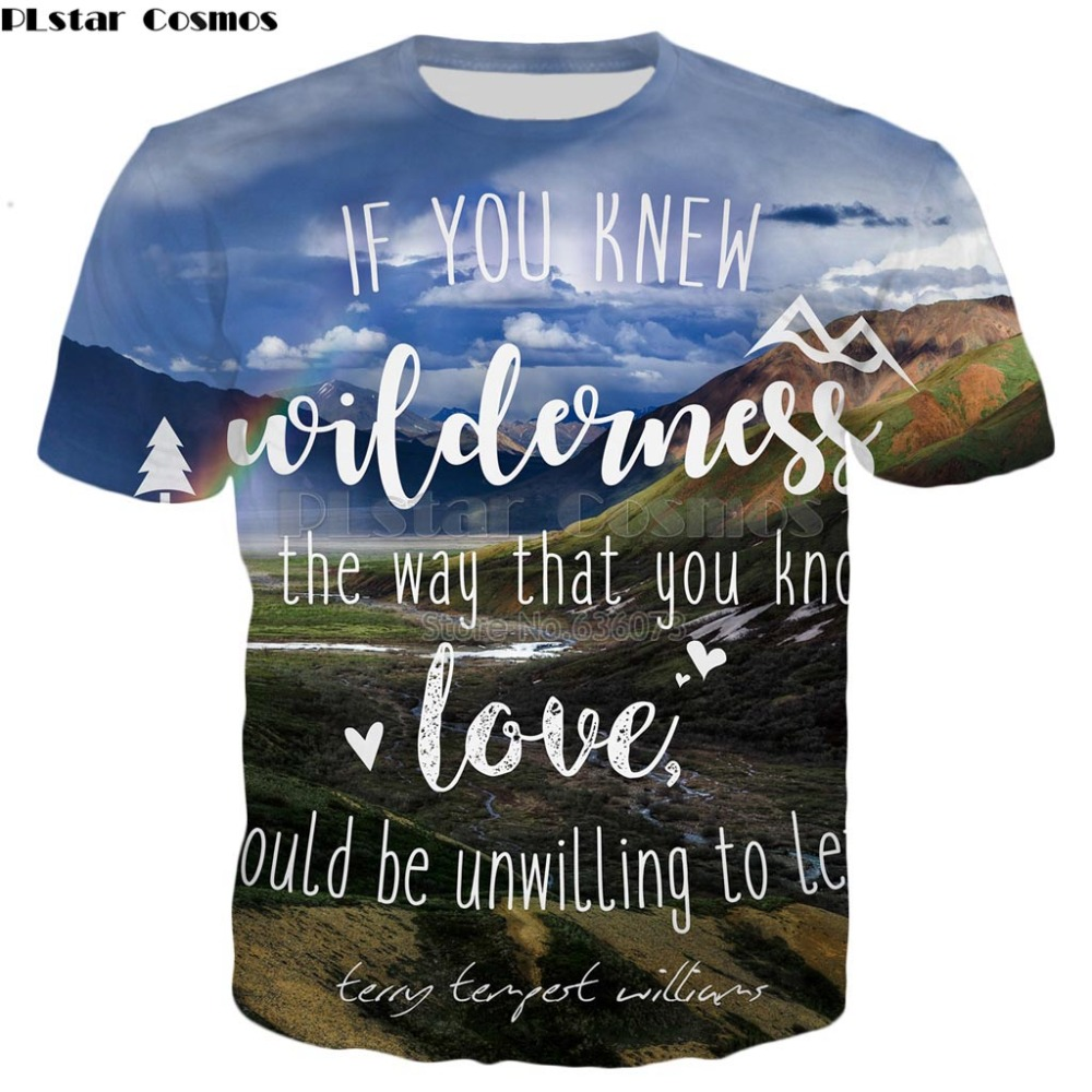 PLstar Cosmos Brand clothing 22 styles summer <font><b>T</b></font>-<font><b>shirt</b></font> <font><b>wilderness</b></font> love quote Letters and nature 3d Print Men Women <font><b>t</b></font> <font><b>shirt</b></font> image
