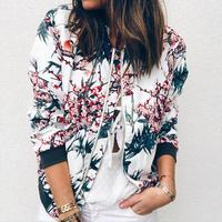 Верхняя одежда и пальто, куртки женские, ретро, Цветочный, молния, верхняя одежда в категории «бомбер», повседневные пальто и куртки для женщ...