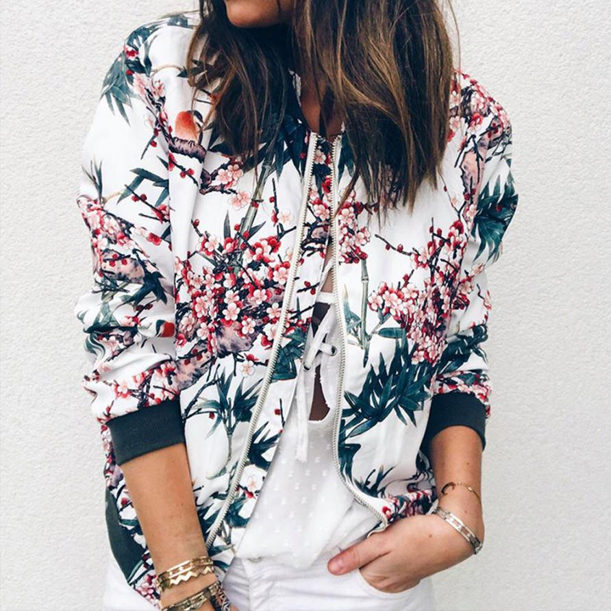 Outerwear & Coats Jackets Womens Ladies Retro Floral Zipper Up Bomber Outwear Casual Coats And Jackets Women 2018AUG10