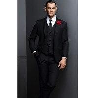 Модные Классические мужские черный костюм с лацканами однобортный мужской платье для выпускного вечера и офиса профессиональные костюмы (