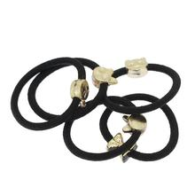 Women Gold Plated Elastic Band Hair Tie Ponytail Holder Random Color