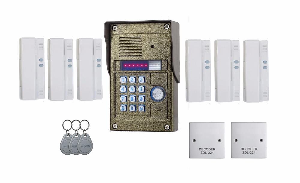 ZHUDELE 327R Audio Intercom System for 6 users apartment TM oudoor panel,ID card&Password Unlock,audio door phone for apartment