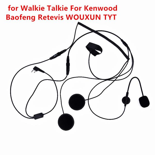 Nueva 2 pin dedo ptt auricular micrófono para walkie talkie casco de la motocicleta para kenwood baofeng tyt de radio de jamón