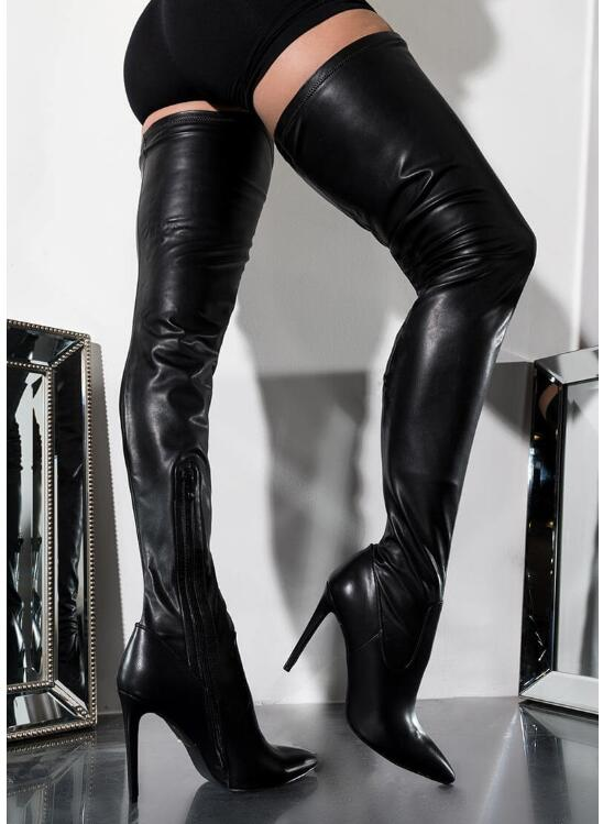 Brand 2019 Black Leather Women Thigh High Heel Boots Pointed Toe Stilettos Sexy Women Over The Knee Long Boots Size 35-43Brand 2019 Black Leather Women Thigh High Heel Boots Pointed Toe Stilettos Sexy Women Over The Knee Long Boots Size 35-43