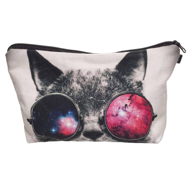 Fashion Women Neceser Portable Make Up Bag&Case 3D Printing Galaxy Cat Organizer Bolsa feminina Travel Toiletry Bag Cosmetic Bag