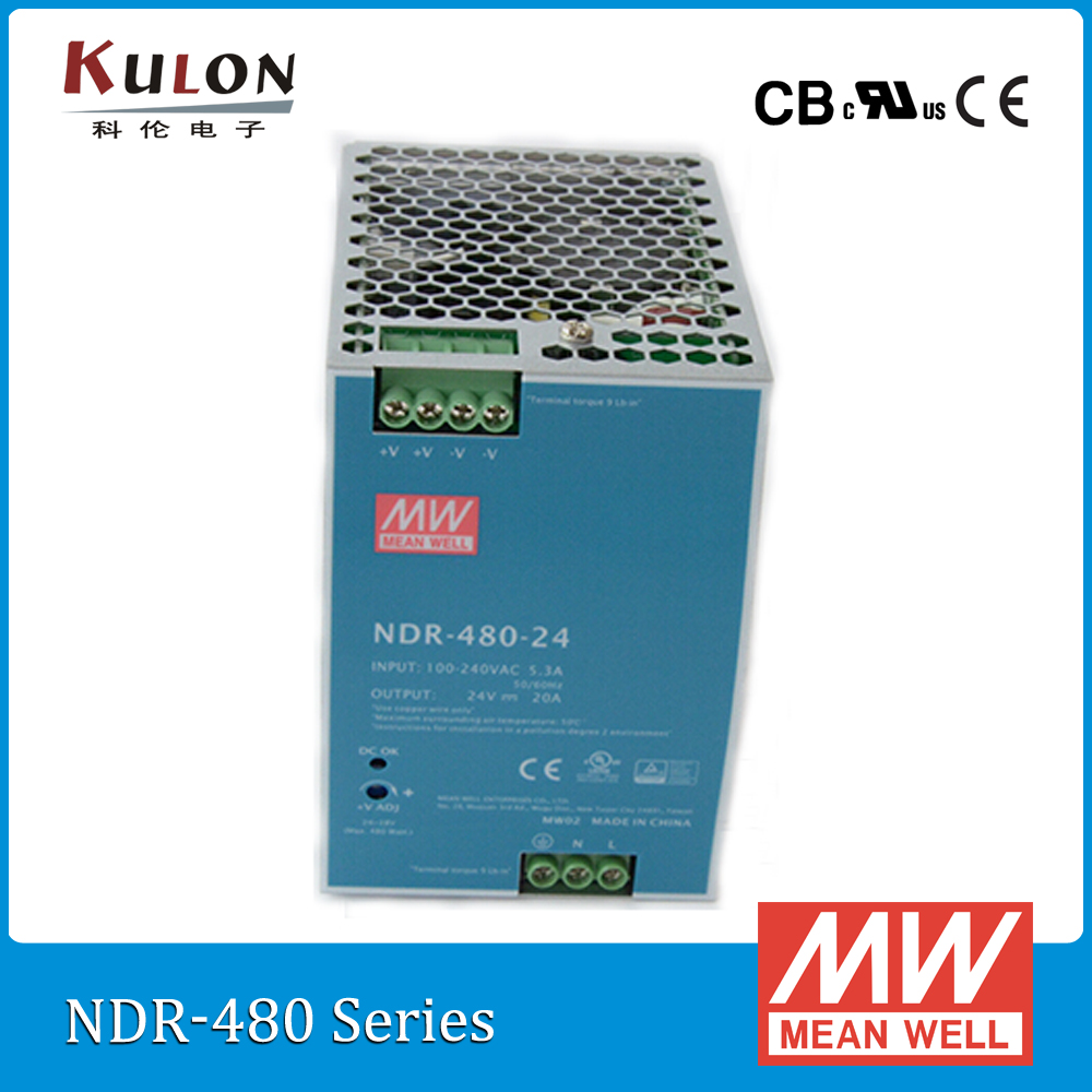 Genuine MEAN WELL NDR 480 24 Single Output 480W 24V 20A Industrial DIN Rail Meanwell Power