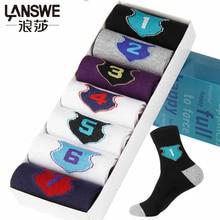 LANSWE 7 пар/лот высокое качество человек хлопок мягкий weekly socks случайные 1-7 мужчины марка носки langsha(China (Mainland))